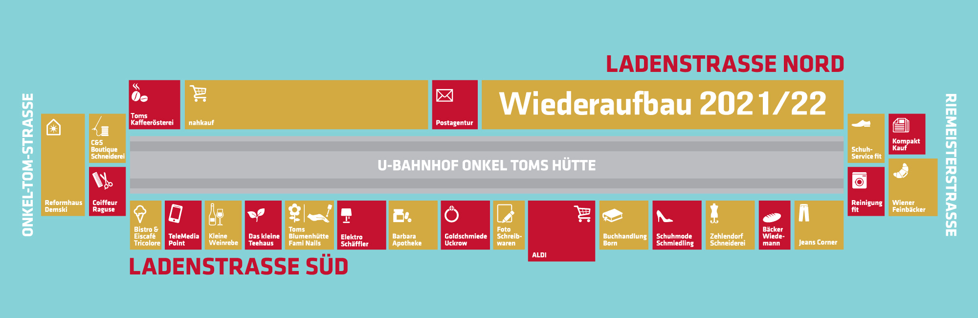 Lageplan Onkel Toms Ladenstraße in Berlin-Zehlendorf
